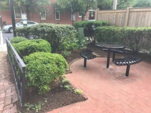 Furniture Installed in the OAPA Pocket Park on 8th & Gordon