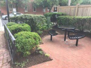 Furniture Installed in the OAPA Pocket Park on 8th & Gordon